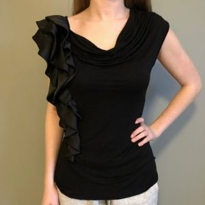 Anthropologie Pleione Black Satin Side Ruffle Top